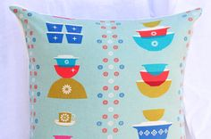 Vintage Pyrex  Pillow 15 x 15 by norajane on Etsy, $22.00