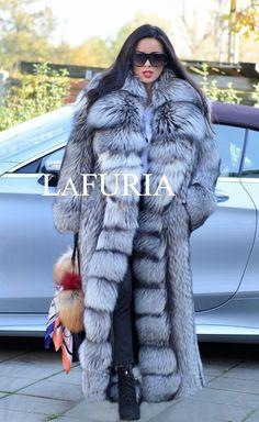 PLATINUM FOX FUR LONG COAT CLAS CHINCHILLA RUSSIAN SABLE MINK SILVER JACKET LYNX | eBay