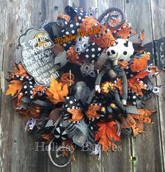 """26"""" Nightmare Before Christmas Wreath Available NOW  www.facebook.com/holidaybaubles2  #wreaths #halloween #holidaybaubles"""