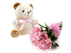 Soft Toys - Teddy n Flowers