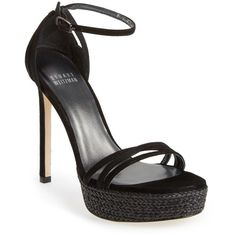 Stuart Weitzman 'Whichway' Suede Platform Sandal (Women) ($135) ❤ liked on Polyvore featuring shoes, sandals, black suede, stuart weitzman sandals, ankle wrap sandals, high heel platform sandals, black platform sandals and platform sandals