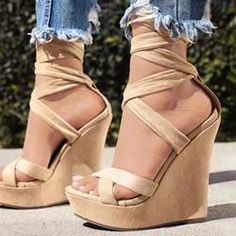 Buy fashion wedges shoes from shoespie. It offers you some cheap wedge shoes of different styles:printed wedge heels, strappy wedges boots, summer wedge sandals are standing for good quality. Lace Up Wedge Sandals, Lace Up Wedges, Lace Up Heels, Pumps Heels, Tan Sandals, Stiletto Shoes, Heeled Sandals, Leather Sandals, Platform High Heels