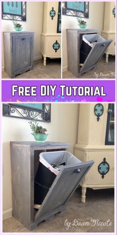 DIY Tilt Out Trash Can Cabinet Tutorials - - DIY Tilt Out Trash Can Cabinet Tutorials: Trash Can Holder Wood working easy kitchen organization, hide ugly trash can. 2x4 Wood Projects, Woodworking Projects That Sell, Diy Woodworking, Welding Projects, Youtube Woodworking, Woodworking Machinery, Woodworking Magazine, Woodworking Classes, Woodworking Furniture