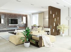 Bright, high contrast ultra modern look in this living room includes natural wood vertical shelving at right, wood framed light cream sofas, white tile flooring, and a slatted wood media backdrop wall.