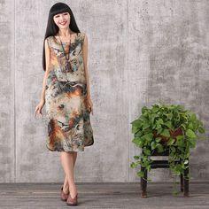 Women summer sleeveless pullover cotton linen dress
