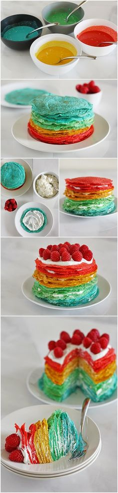 Rainbow crepe cake - Rainbow crepes to GO! Crepe Recipes, Dessert Recipes, Easy Recipes, Breakfast Recipes, Rainbow Pancakes, Cake Rainbow, Crepes Party, Cupcake Cakes, Cupcakes