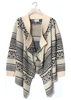 Aztec Zig Zag Knit Beige Sweater