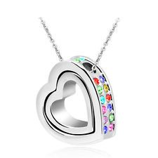 Unique Jewelry - NEW Women Double Heart Mix Crystal Silver Charm Pendant Chain Necklace OB3S9
