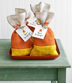 When it comes to Halloween handouts, there's perhaps nothing more iconic than candy corn. These sweet burlap gift bags make for charming (and reusable!) takeaways at Halloween get-togethers.