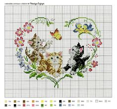 Sunshine Home Decor Cross Stitch Heart, Cross Stitch Borders, Cross Stitch Animals, Cross Stitch Flowers, Counted Cross Stitch Patterns, Cross Stitch Designs, Cross Stitching, Embroidery Hearts, Cross Stitch Embroidery