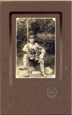 PA151 1920s Japan Old Photo Japanese Army Soldier in Armor Bayonet Kendo | eBay