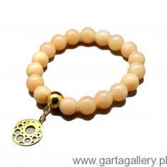 CANDY - Bransoletka z Morelowych Jadeitów z Rozetką Swarovski, Beaded Bracelets, Jewelry, Jewlery, Jewels, Jewerly, Jewelery, Seed Bead Bracelets, Pearl Bracelet