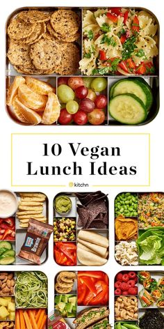 10 Easy Vegan Lunch Box Ideas: Need some lunch inspiration? Some fresh ways to pack a healthy, satisfying lunch? We have 10 beautiful ideas for you today, and (shhh!) they're all vegan. Easy Vegan Lunch, Vegan Lunches, Vegan Meal Prep, Vegan Foods, Vegetarian Lunch Ideas For Work, Vegan Lunch For School, Kids Vegan Meals, Quick Vegan Meals, Vegetarian Recipes For Kids