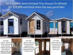 3 semi-finished tiny houses on wheels