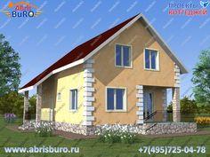 Проект коттеджа с террасой и вторым мансардным этажом K1135-121 общей площадью 121 м2