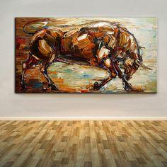 Alta de las habilidades artista 100% pintado a mano fuerte Bull pintura de aceite en lona abstracta hechos a mano Bull pintura para decoración de la oficina