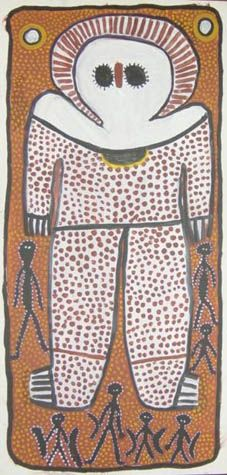 Lily Karadada (Wandjina) Rain Spirit 2000 Earth pigments/canvas, 100x50cm. Wandjina spirit figures embody the rain spirit & Wunambal people ancestor. From the plateau areas along the North Kimberley coast, & hinterland, painted on cave walls, they're always shown frontal with no mouths, & large blacks eyes & a beak-like nose, with a veil of dots perhaps raindrops. Dreamtime mythology says Wandjina emerged from clouds, & will return that way, other versions say Dumbi, the Owl, is the model.