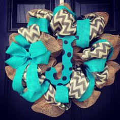 Burlap wreath with turquoise//grey//white chevron with polka dot center letter