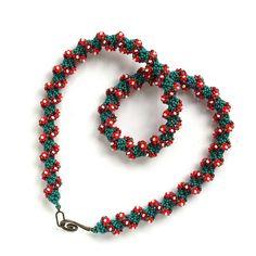 Handmade Beaded Jewelry, Women's Accessories, Beaded running necklace for women Handmade poinsettia garland necklace Christmas star wreath
