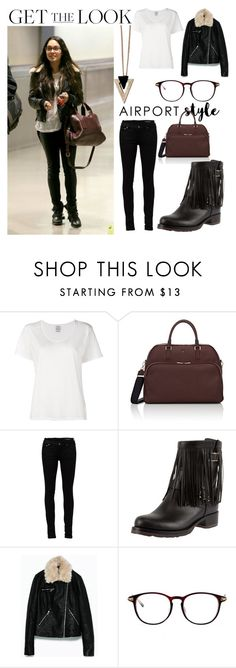 """""""Get The Look: Vanessa Hudgens' Airport Style"""" by veerle-b ❤ liked on Polyvore featuring Visvim, Serapian, Yves Saint Laurent, Valentino, WithChic, Chicnova Fashion, GetTheLook and airportstyle"""