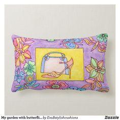 Shop My garden with butterflies design lumbar cushion created by EvaBstylishcushions. Personalised Cushions, Butterfly Design, Create Your Own, Throw Pillows, Birthday, Butterflies, Paintings, Garden, Toss Pillows