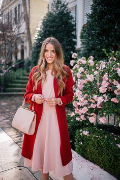 Gal Meets Glam Blush Pink Dress & Red Coat - Maje dress, Vince coat & Mansur Gavriel bag