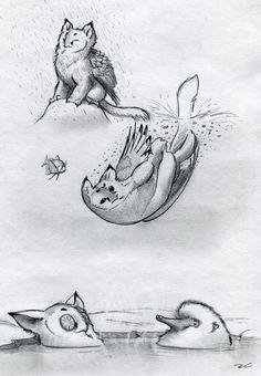 Owl Griffin Various Baths by RobtheDoodler.deviantart.com on @deviantART