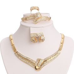 Moochi Yellow Gold Plated Tie Style Choker Necklace Bracelet Earrings Ring Jewelry Set -- Have a look at this terrific product. (This is an affiliate link). Bridal Necklace, Wedding Earrings, Beaded Necklace, Ring Bracelet, Ring Earrings, Bracelets, Bridal Accessories, Jewelry Accessories, Fashion Rings