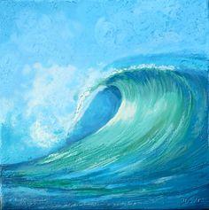 Encaustic beeswax painting collage  Curling Wave by OceanArtStudio, $95.00