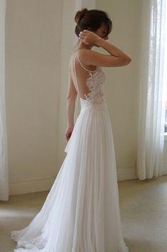 Sexy Backless wedding dress / chiffon spaghetti straps A-line white lace wedding dress bridal gown on Etsy, $269.00
