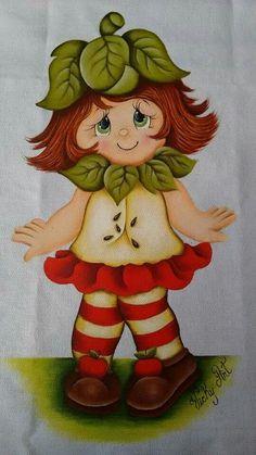 Pintura em tecido   bonecas   maçã   guardanapos