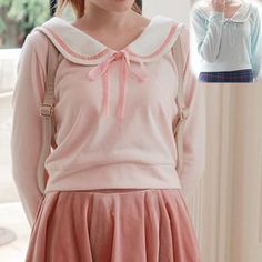 [Reservation] S/M Blue/Pink Sailor Collar Knitted Sweater SP153647