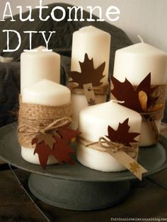 * * * Bonjour à toutes et à tous ! * * * Voici un DIY à réaliser pour éclairer les soirées d'Automne, il suffit... Diy Thanksgiving Centerpieces, Thanksgiving Crafts, Fall Crafts, October Crafts, Deco Champetre, Manualidades Halloween, Fall Candles, Christmas Crafts For Kids, Pumpkin Decorating
