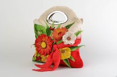 Designer felted bag with flowers made of natural wool handmade roomy purse