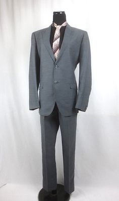 Vintage 1960's Silver 2pc Silver Sharkskin Suit -  Hand Tailored  - Worsted Wool - sz 38-40 by delilahsdeluxe on Etsy