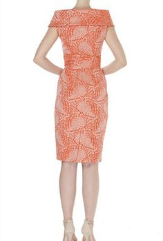 JACQUARD DRESS by Sacha Drake.  I'm an elegant and sophisticated eventsdress that flatters your shape.My A-symmetricalneckline and cap sleeve is flattering over the bust and can helpto balance out the hip. My tie can be wrapped tightto define your waist, or leave it off altogether for a more streamlined look. I have a zip at the backwhich allows for easyfitting and sewn in bra keepers which allows me to bebra friendly.My beautiful textured print is subtle yetstriking.