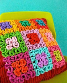 Squiggle Crochet Patchwork by sarah london textiles, Wiggly Crochet, Crochet Diy, Crochet Motifs, Crochet Squares, Crochet Home, Love Crochet, Crochet Crafts, Yarn Crafts, Crochet Stitches