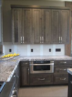 Simple Farmhouse Kitchen Cabinets Makeover Ideas - Page 28 of 46 Stained Kitchen Cabinets, Farmhouse Kitchen Cabinets, Modern Kitchen Cabinets, Kitchen Cabinet Colors, Painting Kitchen Cabinets, Kitchen Grey, Distressed Kitchen, Kitchen Ideas, Kitchen Paint