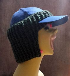 This pattern creates a very thick, stretchy, ribbed earwarmer that fits snugly over a peaked cap. It wraps comfortably around your ears and neck to keep you warm on those cold windy days.
