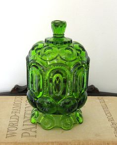LG Wright Glass Covered Candy Jar - Moon and Stars Green. $49.95, via Etsy.