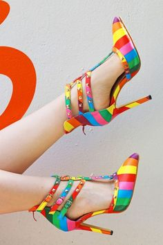 f87a3009a124 Loving these bright and bold rainbow heels!