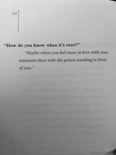 How you when a relationship is over.