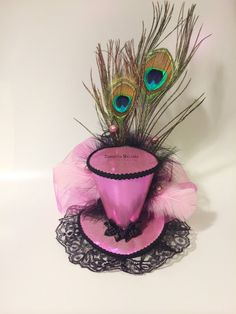 Pink Black Shiny Iridescent Mini Top Hat Fascinator Burlesque Pin-Up Lolita Pageant Derby Tea Party Steampunk on Etsy, $42.00