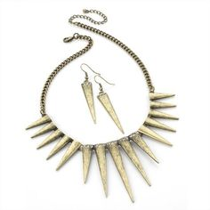 Spike Fashion Necklace & Earrings Set Burnished Gold