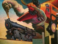 Detail, Instruments of Power panel of Thomas Hart Benton's America Today Mural, 1930–31, egg tempera with oil glazing over Permalba on a gesso ground on linen mounted to wood panels.