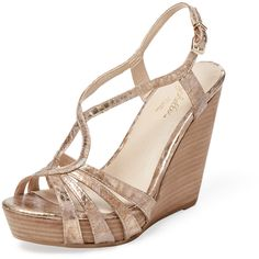 Seychelles Seychelles Women's Brunette Wedge Sandal - Gold - Size 10 ($75) ❤ liked on Polyvore featuring shoes, sandals, gold, wedges shoes, ankle strap sandals, ankle wrap sandals, platform shoes and cut out wedge sandals