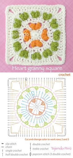 Crochet: heart granny square pattern (diagram or chart)