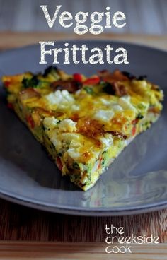 A fast and easy dinner, fantastic breakfast or make-ahead lunches: Veggie Frittata from The Creekside Cook #easy #fast #30minutemeal #meatlessmonday