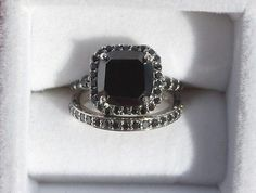 3ct Black Diamond Ring with White Gold Accent Band Wedding Set