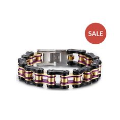 Motorcycle Chain Link | Heavy stainless steel motorcycle chain link bracelets in eight different color combinations.
